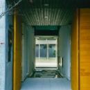 『空を臨む家』光と風を取り入れる緑豊かな住まいの写真 庭まで見通せる玄関