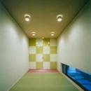『空を臨む家』光と風を取り入れる緑豊かな住まいの写真 市松模様がアクセントの和室