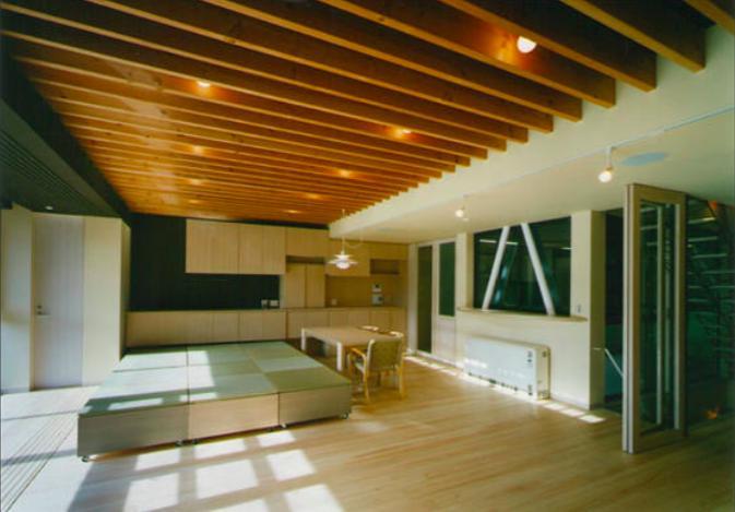 『空を臨む家』光と風を取り入れる緑豊かな住まいの部屋 畳スペースのある大空間LDK