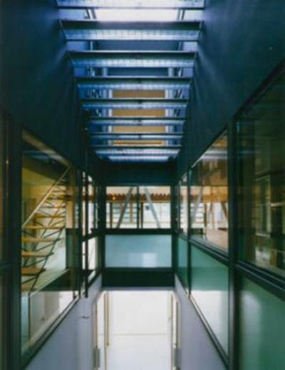 グレーチングの階段 (『空を臨む家』光と風を取り入れる緑豊かな住まい)
