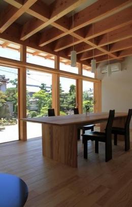 『ながらはうす』眺望のすばらしい二世帯住宅 (連続開口窓のある1階ダイニング)