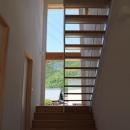 『ながらはうす』眺望のすばらしい二世帯住宅の写真 大きな窓のある明るい階段室-1
