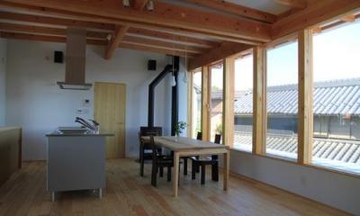 薪ストーブのある2階LDK|『ながらはうす』眺望のすばらしい二世帯住宅