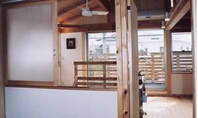 木の温もり感じる2階寝室|石川町の家