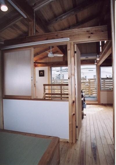 木の温もり感じる2階寝室 (石川町の家)