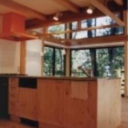 『音聞山の家』傾斜地に建つ自然を生かした住まい (アイランドキッチン)