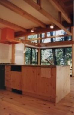 『音聞山の家』傾斜地に建つ自然を生かした住まいの部屋 アイランドキッチン