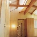 オープンな子供室のある階段ホール