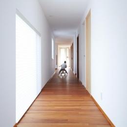 『Sgww』田園風景の中のシンプルな住まい (光の入る明るい廊下)