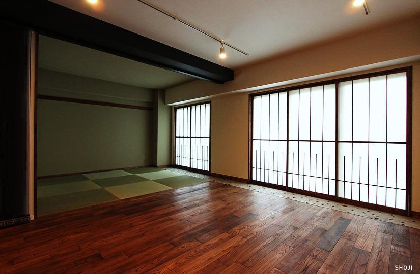 『350 WASABI』和の素材がピリッと際立つモダンな空間 (和室・リビング)