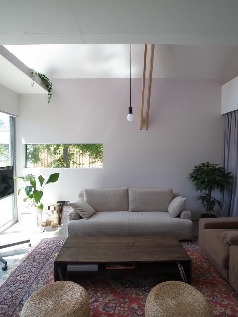 『青海町の家』スタイリッシュなアトリエ兼用住宅の写真 北欧スタイルリビング