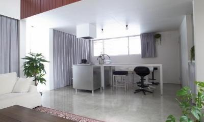 『青海町の家』スタイリッシュなアトリエ兼用住宅 (リビングよりダイニングキッチンを見る)