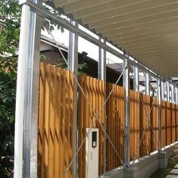 『ハコノイエ2|ニンゲンノネドコ』-縦のウッドフェンス