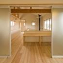 『御宿の家A邸』家族と共に時を刻む住まいの写真 ベッドルームより2階ホールを見る