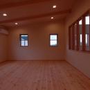 片流れ天井の寝室