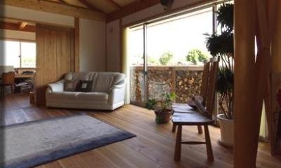 『薪塀の家』工夫一杯のローコスト4世代住宅 (光と木の温もりに包まれたリビング)