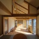 『舞台のある家』変化を楽しめる木の家の写真 畳コーナーよりリビングを見る