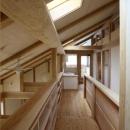 『舞台のある家』変化を楽しめる木の家の写真 トップライトより光が差し込む渡り廊下