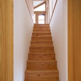 『舞台のある家』変化を楽しめる木の家 (シンプルな木製階段)