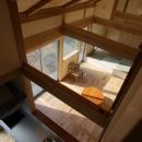 『舞台のある家』変化を楽しめる木の家の写真 寝室の室内窓よりLDKを見下ろす