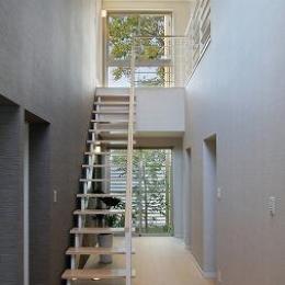 『M邸』シンプルモダンな住まい (玄関より一直線にのびる階段)