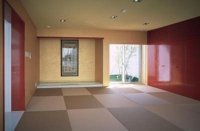 『S邸』非日常空間を楽しめる高級リゾートホテルのような家 (赤がアクセントの和モダンな和室)
