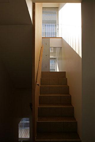 『タテ町家』木×コンクリートのクールな住まいの写真 光の差し込む階段室