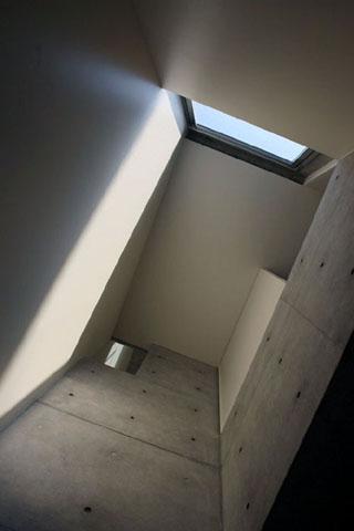 『タテ町家』木×コンクリートのクールな住まいの写真 階段吹き抜けを見上げる