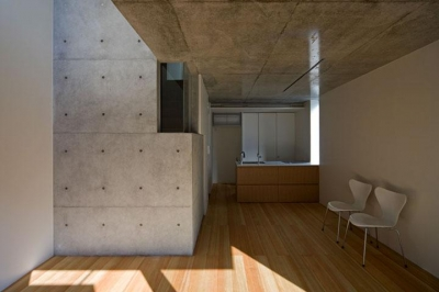木×コンクリートのクールなLDK (『タテ町家』木×コンクリートのクールな住まい)