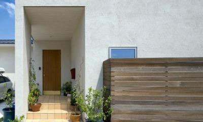 観葉植物が迎えてくれるアプローチ|住宅作品3・庭と一体!家族の成長を見守る住まい