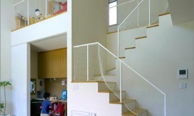 住宅作品3・庭と一体!家族の成長を見守る住まい (吹き抜け-転落防止ネット付きの階段)
