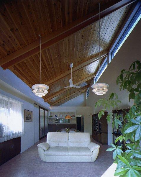 住宅作品4・勾配天井の寛ぎリビングがある住まいの部屋 勾配天井の寛ぎリビング