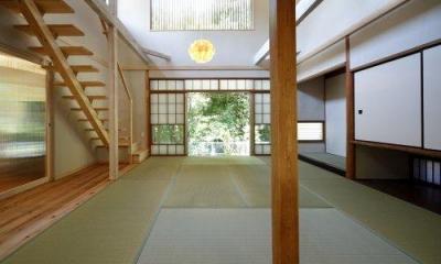 2階を減築した吹き抜けの和室-1|『宝塚の家』和室と洋室を組み合わせた楽しい住まいへ劇的リノベ