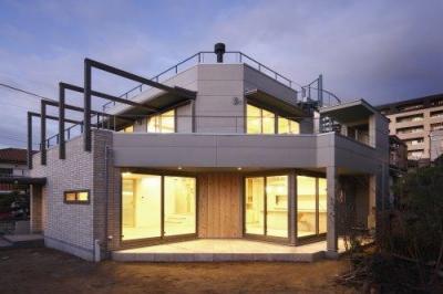 『樟葉美咲の家』屋上緑化と趣味の家 (外観-庭側)