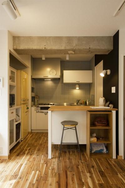 クールなキッチン (H邸・ハンモックのゆれる、光と風のリビング)