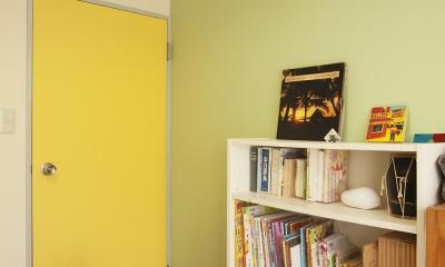 一面パステルグリーンの子供部屋|H邸・ハンモックのゆれる、光と風のリビング
