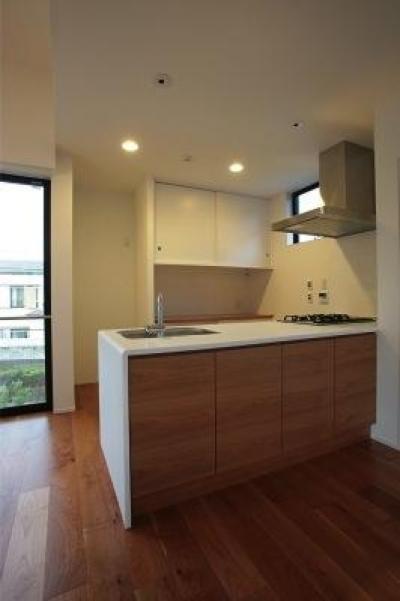 シンプルなオープンキッチン-1 (『U邸』階段がつなぐ家)
