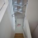 階段上部を見上げる