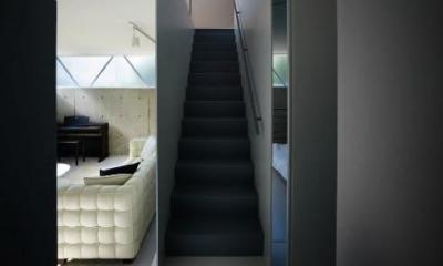 1階に上がる階段|『VVV(フェーフェーフェー)』シンプルモダンな二世帯住宅