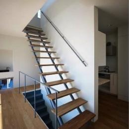 『VVV(フェーフェーフェー)』シンプルモダンな二世帯住宅 (2階に上がるスケルトン階段)