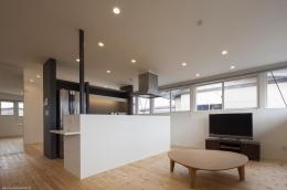『牛島の二世帯住宅2 』2階をワンルームとする大胆なプラン (無垢フローリングのLDK)