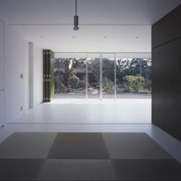 『コンセント』空間を最大限確保した廊下がない住まい (畳スペースよりリビングを見る)