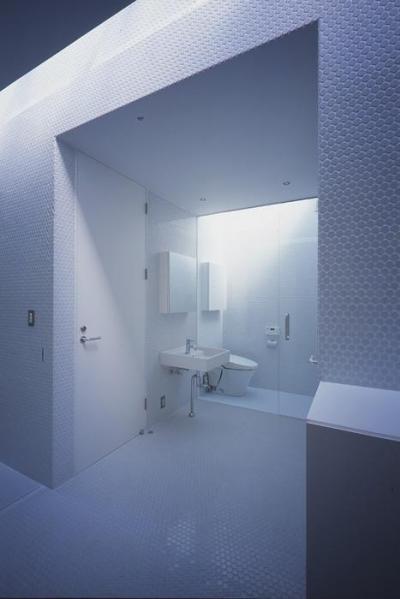 白い丸モザイクタイルの洗面・トイレ (『コンセント』空間を最大限確保した廊下がない住まい)