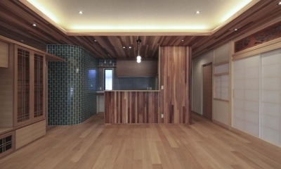 木×タイルの和モダンなキッチン|『TOMOIKI NO IE』こだわりいっぱい、和モダンな住宅