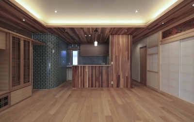 『TOMOIKI NO IE』こだわりいっぱい、和モダンな住宅 (木×タイルの和モダンなキッチン)