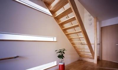 横スリット窓より光の入る階段室|『坂の南の家』曲面天井のある立体的な構成