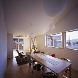 曲面天井のリビングダイニング (『坂の南の家』曲面天井のある立体的な構成)