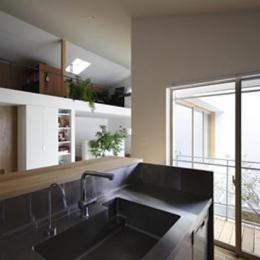 『春風の家』中庭を外玄関に!光を取り込む住まい-キッチンからの眺め