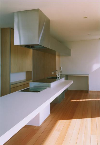 『柳井の家』ロケーションを最大限に生かした住まいの写真 スタイリッシュなアイランドキッチン