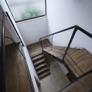 岡本の家/2階テラスを中心とした木の温もりを感じる心地よい住まいの写真 吹き抜けの階段室